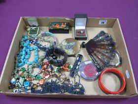 Bead Necklaces, bangles, bracelets, a Stratton ladies compact, another similar, rings etc :- One