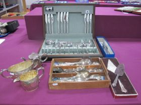 Copenhagen Cutlery Denmark Set of Six Knives and Forks, together with assorted plated cutlery, etc.