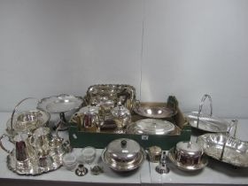 A Mixed Lot of Assorted Plated Ware, including swing handled dishes, pedestal dish, bachelor's tea