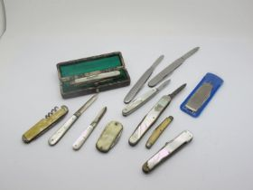 A Hallmarked Silver and Mother of Pearl Folding Pocket Knife, in original fitted case; together with