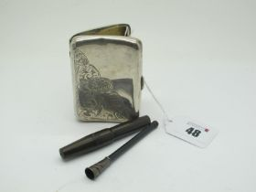 A Hallmarked Silver Cigarette Case, part leaf scroll engraved (dented); Together with A Cheroot