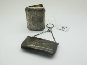 A Hallmarked Silver Cigarette Case, Birmingham 1913, allover leaf scroll engraved, initialled;