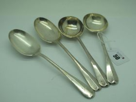 A Pair of Hallmarked Silver Soup Spoons, CEJ, Sheffield 1925, initialled; Together with A Pair of