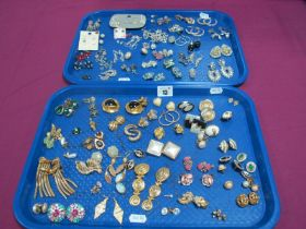A Pair of Trafari Gilt Coloured Clip Earrings, together with others similar, including diamante,