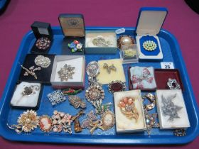Assorted Costume Brooches, including diamanté, floral, cameo style, etc :- One Tray