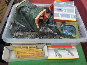 A quantity of Hornby 'OO' Gauge/4mm Platform Sections, Track Risers, a Ref R076 boxed footbridge,