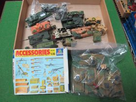 A Quantity of Plastic Kit Built Army Tanks, Vehicles, Weapons, etc, fair to good, approximately