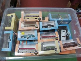 Twenty One Items of Cased 1/76 and 1/43 Vehicles, passenger cars, buses, military items, (all good