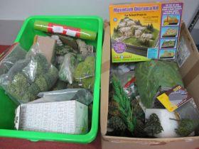 "Two Boxes of 'OO' Gauge/4mm etc, trackside scenery, foliage etc, plus a ""Scenearama"" mountain"
