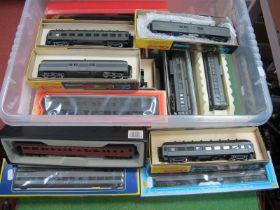 Twenty 'HO' Gauge Boxed U.S.A Outline Coaches, various liveries by A.H.M, Rivarossi, Roundhouse etc,