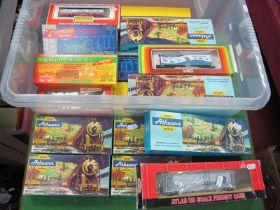 Twenty 'HO' Gauge Boxed Items of U.S.A Outline Rolling Stock, by Athearn, Atlas etc, box vans