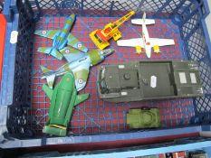 Seven Model Vehicles Mostly Dinky Diecast, including 722 Harrier GR MKI, Hawker Siddeley 125,