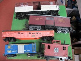 """Five 'G' Gauge Unboxed Items of Rolling Stock, a Santa Fe Carboose and """"Express Agency"""" van, four"""