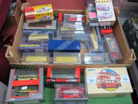 Sixteen Corgi Original Cased Mainly 1/76 Scale Coaches, Buses, various liveries, plus two boxed