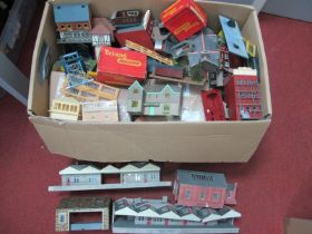 A Box of Trackside Buildings, various gauges, plastic, resin and card - houses, commercial,
