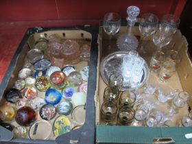 Paperweights, including Caithness, Onyx, 1930's trinket set, drinks set, custard glasses, other