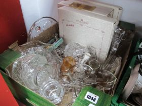 Bradford Exchange Royal Albert Cabinet Plates, cut glass posy bowl, water jug and tumblers, etc:-