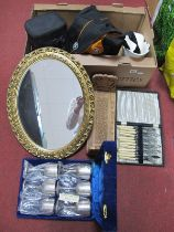 Beswick Fanned Bowl, oval wall mirror, book trough, cased goblets and cutlery, camera carry