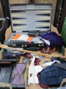 A Backgammon Set, cuff links, bow ties, back scratcher, etc:- One Box.