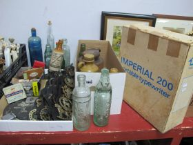 A Turned Wooden Door Stop, stoneware flagon plus two bottles, glass bottles, horse brasses, pictures
