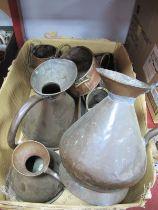A XIX Century Copper One Gallon Jug, copper jugs, copper planter:- One Box