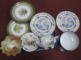 Carlton Ware Bowl, Harvey Adams cake plate and single plate, Denby Dale Bicentenary plates,