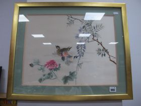 A Chinese Embroidered Silk Picture of Ducks, Marcheiti 70. abstract watercolour, other pictures:-