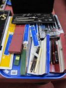 Sheaffer and Other Pens, Riefler geometry set, slide rule, Moore & Wright steel rule, etc:- One