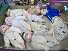 Schuco Monkeys, to include four lady monkeys, two baby, two Russ Berrie plastic face conga gorillas,