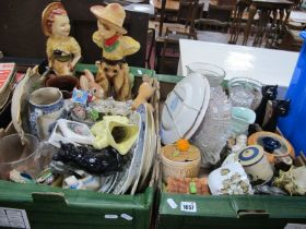 A Pair of 1930's Plaster Figures, cowboy & cowgirl, toby jugs, cats, plates, Pendelfin, other