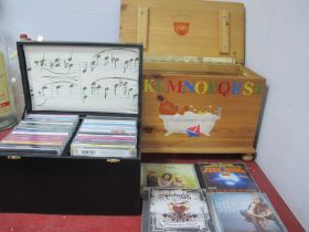 Classical CDs, Handel, Christmas, Bach, etc, in a pine box and a black box. (2)