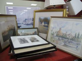 Neil S Hopkins, Harbour Scene, limited print of 500 (fading) watercolour, prints, etc.
