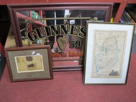 Guinness Wall Mirror, in frame 54 x 67.5cm, Nottinghamshire map, photograph of Horse, details verso.