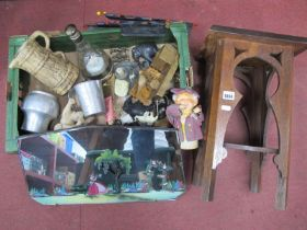 Mirror, 'Beer Barrel Folk' musical bottle, model elephants, DBGM cigarette box, wall tidies, etc:-