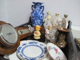 Nao and Other Figurines, Aynsley photo frame, oak barometer, etc:- One Box.