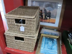 A Modern Jack Vettriano Print, smaller gilt framed prints, seagrass storage boxes.