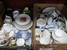 Gladstone and XIX Century Teaware, moustache cup, jugs, other ceramics:- Two Boxes.