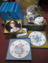 Coalport Cabinet Plates, (boxed), mantle clock.