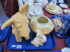 Crown Devon Figure of a 'Terrier' dog, 27cm high, Beswick ware, rimmed bowl and Sylvac rabbit:-