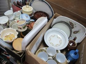 Denby Pottery and casserole, teapots, Le Creuset kettle, kitchen ware:- Three Boxes.