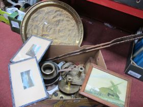 XIX Century Chamber Candlestick, copper pan, brass engraved tray:- One Box