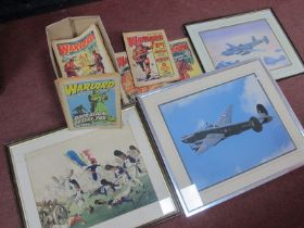 A Watercolour of French Soldiers, in a battle field, print of Lancaster bomber, photo of a Spitfire,