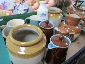 A XIIX Century Stoneware Storage Jars, XIX Century stoneware jug, Denby stoneware jugs, etc:- One