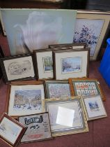 Josef Mensing, signed prints. Harold Hudson watercolour, George Cunningham and other prints,