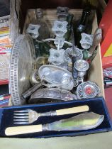 Old Hall Condiment Set, candelabra's, fish servers, bottles, etc:- One Box.