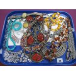 Tumbled Hardstone and Other Necklaces, bracelet etc :- One Tray