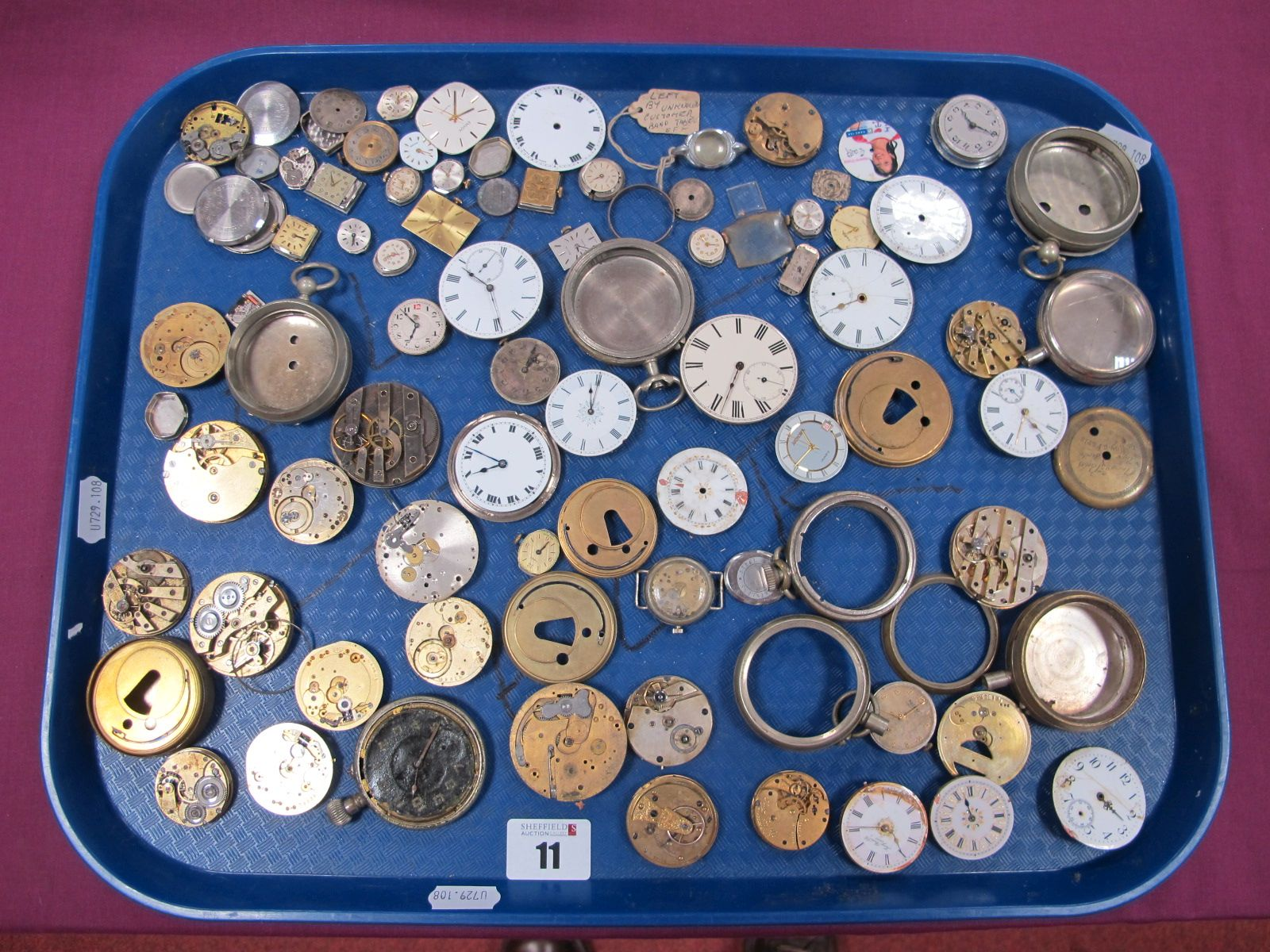 Assorted Pocketwatch Dials / Movements, (damages / incomplete), ladies wristwatch dials /