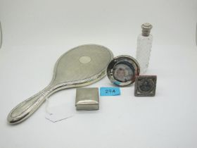 A Hallmarked Silver Backed Hand Mirror, with engine turned decoration; a hallmarked silver topped