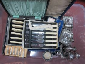 Boxed Sets of Plated Cutlery, a large six piece cruet set of antique style; a hallmarked silver