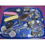 Pink and Yellow Enamel Back Brushes, small hand mirror, letter openers, Scarborough souvenir trinket